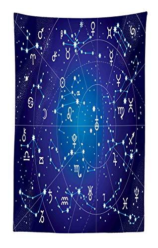 Abakuhaus astrologia tappeto da parete e copriletto, costellazione di zodiaco e pianeti originale collezione di coordinate del cielo, più tecnologia moderna digitale, 140 x 230 cm, multicolore