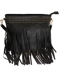 Schmick Black PU Leather Cross Body Fringe Bag For Women