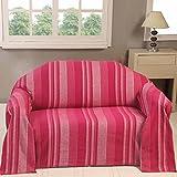 Homescapes waschbare Tagesdecke Sofaüberwurf Plaid Morocco 150 x 200 cm in Streifen-Design Bettüberwurf aus 100% reiner Baumwolle in pink