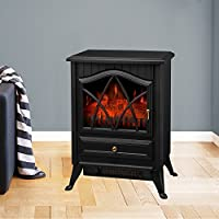 Right Radiator 1850W Electric Fireplace Heater Fire Place Stove Fan Log Burning Flame Effect Dimmable 2 Heat Settings Freestanding