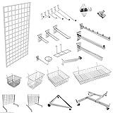 Gridwall-Aufbewahrungs- und Präsentationssystem für Geschäfte, vielseitig anpassbar mit Haken, Armen usw., Gitterwand verchromt, silber, 4x Wall Bracket