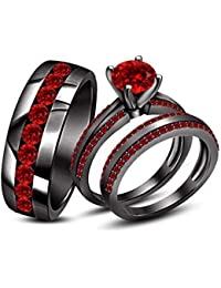 Silvernshine Jewels Men's & Women's 14k Black Gold Fn Round Cut Red Garnet Trio Wedding Ring Set