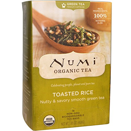 NUMI - Organic Tea Toasted Rice - Nutty and Savory Smooth Green Tea - Fairtrade - Compostable Tea Bags - Non GMO - 16 filters