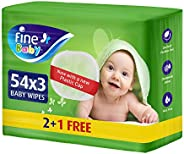Fine Baby, Wet Wipes, with Aloe Vera & Chamomile Lotion, 54 wipes x 3 p