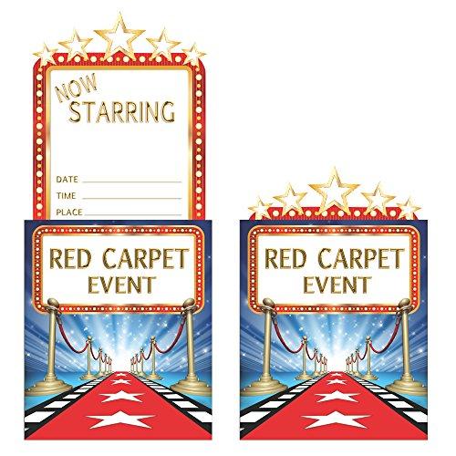 Gold 8 Licht (Creative Converting Pop-up-Einladung Hollywood-Lichter, Blau/Rot/Weiß/Gold, 8 Stück)