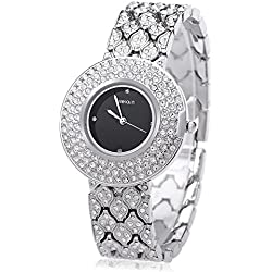 Leopard Shop WEIQIN W4243 Female Quartz Watch Stainless Steel Band Wristwatch Artificial Crystal Diamond Dial #2