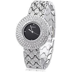 Leopard Shop WEIQIN W4243 Female Quartz Watch Stainless Steel Band Wristwatch Artificial Crystal Diamond Dial #2