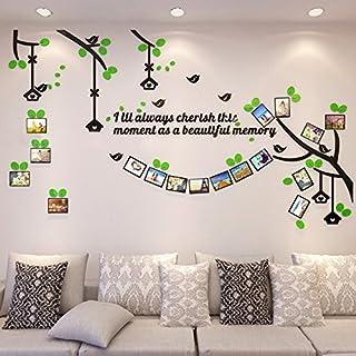 Alicemall 3D Wandtattoo Acryl Wandaufkleber Grün Blätter Schwarz Zweigen mit Bilderrahmen Foto Wand Kinderzimmer Sofa Hintergrund 280 x 160 cm
