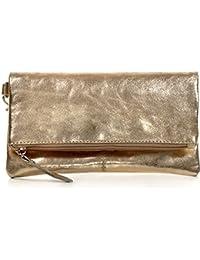 CNTMP, Damen Handtaschen, Clutch, Clutches, Clutchbags, Unterarmtaschen, Partybags, Trend-Bags, Metallic, Leder Tasche, 21x11x2,5cm (B x H x T)