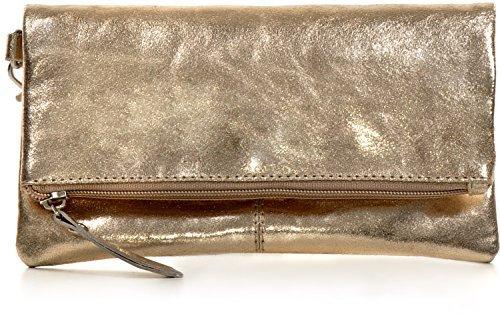 CNTMP, Damen Handtaschen, Clutch, Clutches, Clutchbags, Unterarmtaschen, Partybags, Trend-Bags, Metallic, Leder Tasche, Lightgold, 21x11x2,5cm (B x H x T) (Leder Gold Handtaschen Clutch Aus)