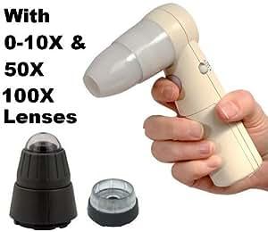 ProScope Microscope numérique portable Wi-Fi HR pour iPad, iPhone et iPod Touch avec 0–10x, lentille 50x, 100x lentilles et étui de transport