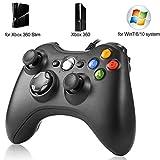 USB Gamepad Controller wired für Xbox 360 Slim / Windows 7, Analog Gamepad mit 3 Stufen Vibrationskontrolle, Schwarz
