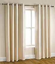 Homefab India'S Set Of 2 Royal Silky Cream Door Curtains(Hf042) 7X
