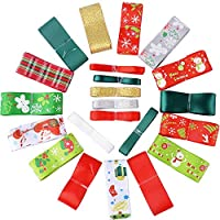 BUONDAC 22pcs Christmas Ribbon Bundle Mixed Xmas Ribbon Offcut Assorted Designs Bundle Ribbons Decorations Polyester Decorative for Gift Wrapping, DIY Hairpins Crafts (1m / Piece)