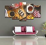 syssyj Kein Rahmen Leinwand Bilder Küche Wandkunst Wohnkultur Restaurant Rahmen 5 Stücke Obst Lebensmittel Kaffee Kuchen Malerei Moderne Hd Gedruckt Poster
