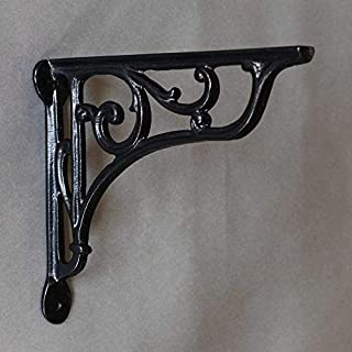 8 Inch Victorian Scroll Cast Iron Shelf Bracket - Black