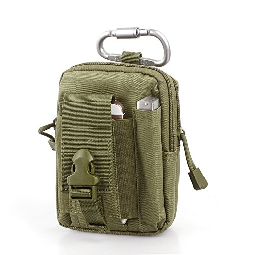 Unigear Taktische Hüfttaschen Molle Tasche Gürteltasche MOLLE Beutel Militär Ideal für Outdoorsport Multifunktionen Praktische Ausrüstung mit Extrafreiem Aluminiumkarabiner (Olivgrün 1)