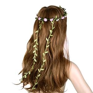 FJAC001 Boho Ladies Pink Floral Flower Festival Wedding Garland Forehead Hair Head Band