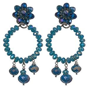 GIPSY 1 BLUE - Orecchini fatti a mano con clips, cerchio con 3 pendenti, in cristallo Blu Petrolio, nickel free, diametro cm. 3,5 - lunghezza cm. 7,5
