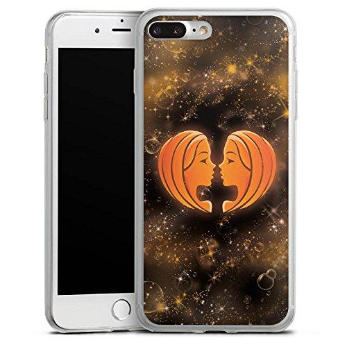 Apple iPhone 8 Plus Slim Case Silikon Hülle Schutzhülle Sternzeichen Zwillinge The Twins Silikon Slim Case transparent