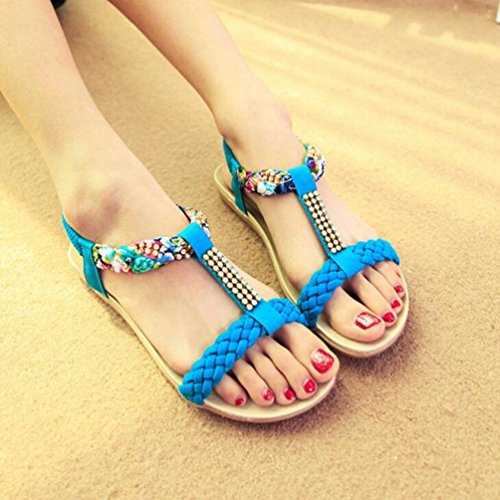 YOUJIA Femmes Bohême Perles Sandales Salomés Peep-Toe Plat Plage Chaussures Tongs Bleu