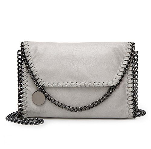 Valleycomfy borsa da donna borsa a tracolla elegante borsa a tracolla metallica cuoio crossbody borse a tracolla, grigio