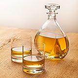 Edle Whisky Karaffe Lismore im 3-teiligen Whisky Set - Karaffe mit luftdichtem Verschluss und zwei Gläsern - Glas Dekanter - Inhalt: 700ml - Whiskygläser