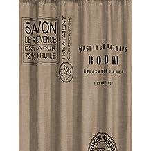 Sealskin 233321374 - Cortina de ducha (180 x 200 cm), diseño de etiqueta de jabón