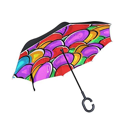 Bennigiry Paraguas invertido de Doble Capa, Colorido, Protección contra el Viento, con Mango en Forma de C, Multi#001, Talla única