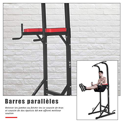 ISE 5in1 Chaise Romaine Power Tower Workout Dip Station Barre de Traction Station Musculation pour l'entraînement à la Maison, SY-5607