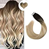 Ugeat 24Pulgada 50g 20pcs Extensiones de Cabello Natural Adhesivas Tape in Human Hair...