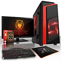 Fierce EXILE Gaming PC Desktop Computer Bundle - Fast 3.8GHz Quad-Core AMD Athlon X4 845, 1TB Hard Drive, 8GB of 1600MHz DDR3 RAM / Memory, NVIDIA GeForce GT 1030 2GB, Gigabyte F2A68HM-HD2 Motherboard, CiT F3 Black Case/Red Fans, HDMI, USB3, Wi - Fi, Perf