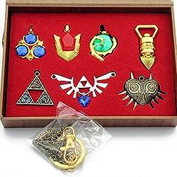 Zelda Trifuerza Escudo & Espada Llavero Collar Caja de colección (Silver)