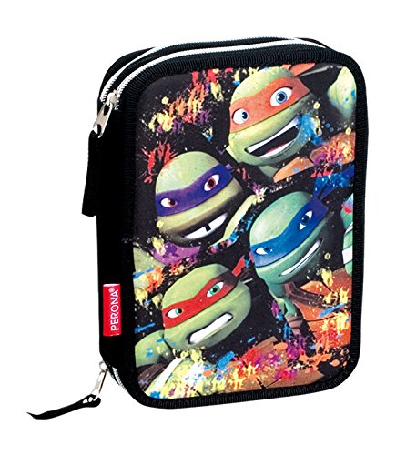 Montichelvo Tortugas Ninja Together Plumier de Cremallera Doble, Color Negro, 52109