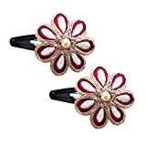 #9: Heansa Stylish and Glossy Tic Tac Hair Clip with Maroon and Gold Floral for Girls Kids