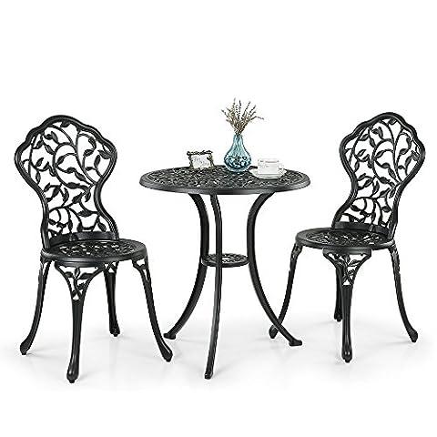 iKayaa Terrasse Jardin Table et Chaises Set 3PCS Moderne Patio Extérieur Ensemble Bistro en Aluminium Feuilles Mobilier Design Blanc / Noir