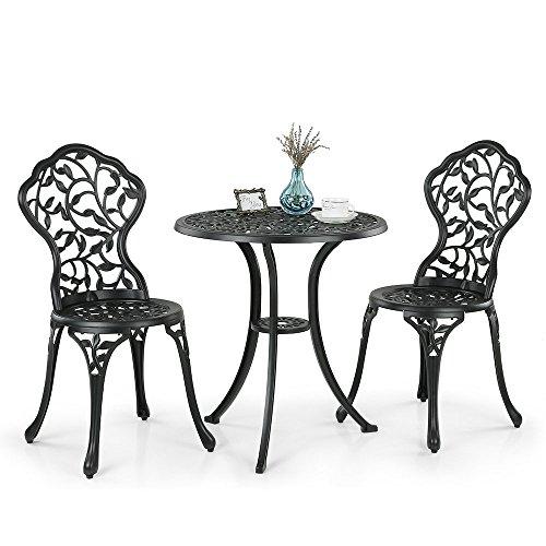 iKayaa 3tlg. Balkonmöbel Gartenmöbel Set mit Blätter Design 1xTisch + 2xStuhl 2 Farbe Optional