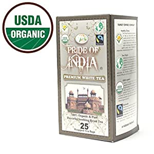 PRIDE OF INDIA Organic Darjeeling White Tea, 25 Tea Bags
