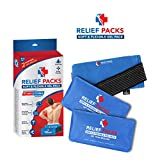 Soft & Flexible Gel Packs by Relief Packs: Reusable Ice Gel Pads for Cool & Hot Therapy - Multipurpose Microwaveable Gel Packs for Injuries, Pain Relief, Sports - Compression Strap Included (2 Pack)