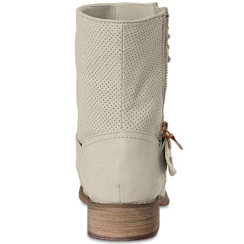 CASPAR Damen Biker Stiefeletten / Stiefel mit Strass Dekor - 3 Farben Beige
