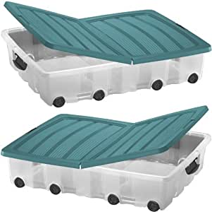 pack of two plastic storage boxes underbed box container with wheels and folding lid 55ltr