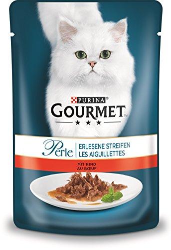 Gourmet Purina Perle Erlesene Streifen Katzennassfutter, 24er Pack (24 x 85g Portionsbeutel)