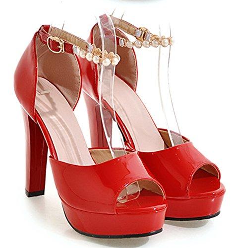 Aisun Femme Spécial Perle Peep Toe Sandales Rouge