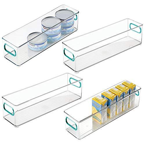 mDesign 4er-Set Aufbewahrungsbox für die Küche - Kühlschrankkorb aus Kunststoff - schmale Kühlschrankbox für Milchprodukte, Obst und andere Lebensmittel - durchsichtig/blau