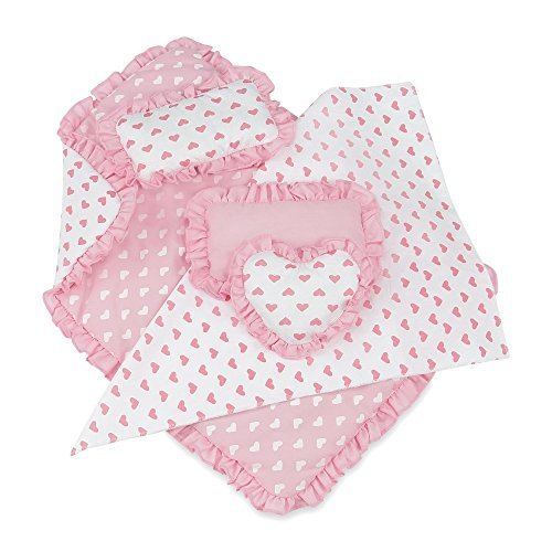 18 Inch Doll Accessories | Reversible Pink Heart Print Ruffled Bedding Set with Comforter, 3 Pillows and Sheet | Fits American Girl Dolls by Emily Rose Doll Clothes
