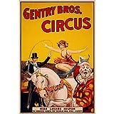 Fabulous Poster Affiche Vieille Affiche Cirque Gentry Circus Rétro Poster Tendance Original Clowns Magie 91x92cm