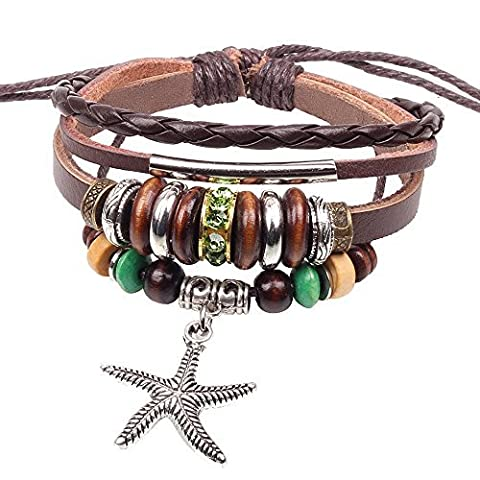 Winter Secret de Multi brins en alliage Pendentif Étoile de mer Argenté Tube en perles de bois Bracelet cuir Marron