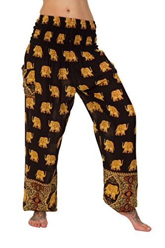 Haremhose, 18verschiedene Designs Gr. One size , Golden Elephants Black - Black Kurta