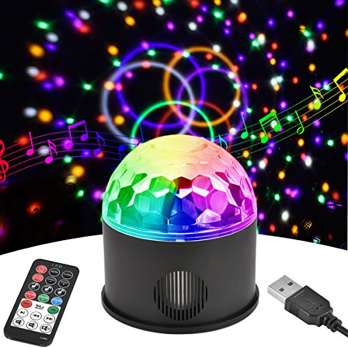 Discokugel LED Party Lampe Musikgesteuert Disco Lichteffekte Discolicht mit 1,4M USB Kabel, 9 Farbe RGB Partylicht mit Fernbedienung für Kinder, Kinderzimmer, Partei, Geburtstagsfeier, DJ, Bar, Karaoke, Weihnachten, Hochzeit, Club, Pub