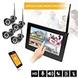 HaWoTEC 9' Touchscreen HD Funk Überwachungssystem Digital Videoüberwachung System Echtzeit inkl. 500GB Festplatte 4 HD Funkkamera IR Nachtsicht H.264 mit Mikrofon